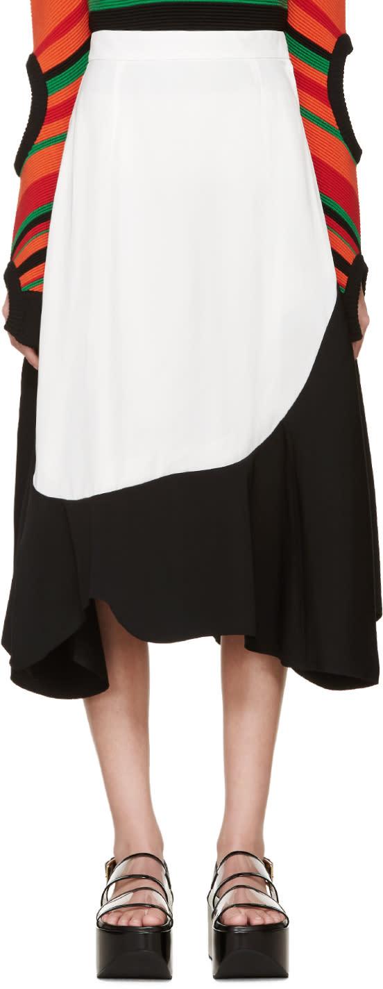 Toga Black and White Asymmetrical Skirt