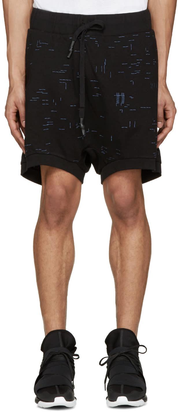 11 By Boris Bidjan Saberi Black and Blue Embroidered Shorts