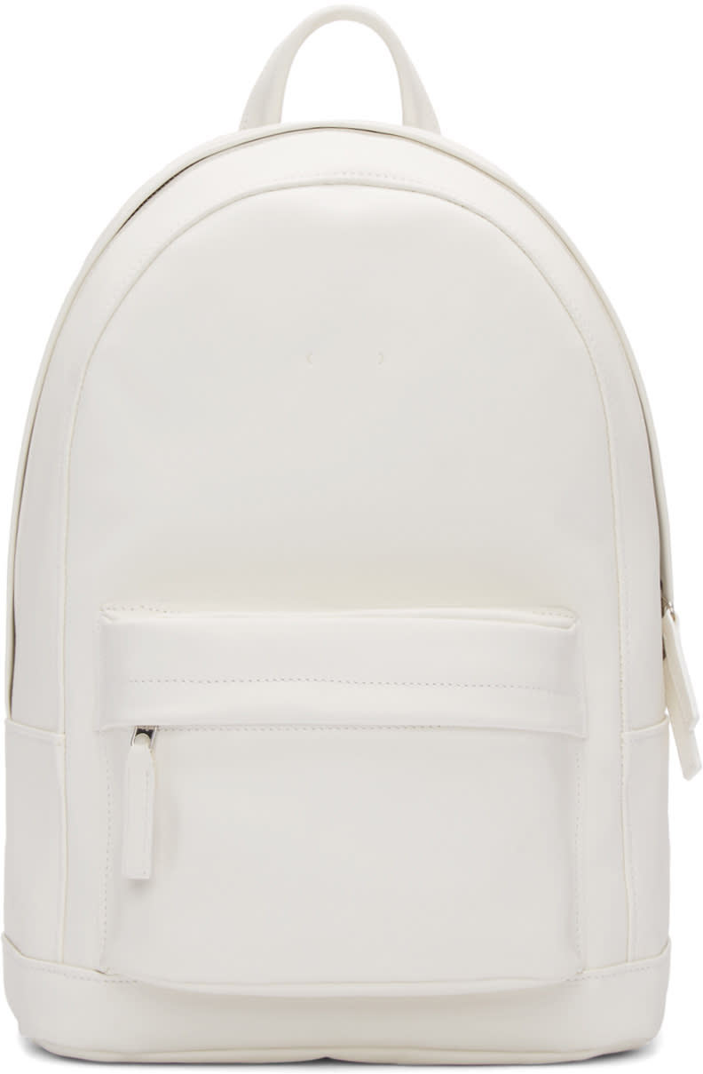Pb 0110 White Leather Ca 7 Backpack