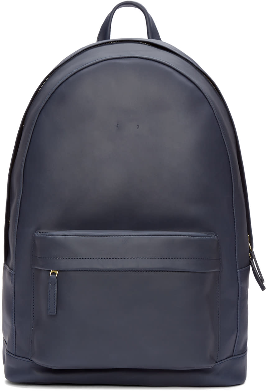 Pb 0110 Navy Leather Ca 6 Backpack