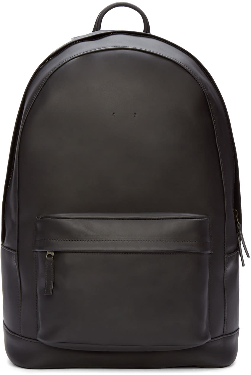 Pb 0110 Black Leather Front Pouch Backpack