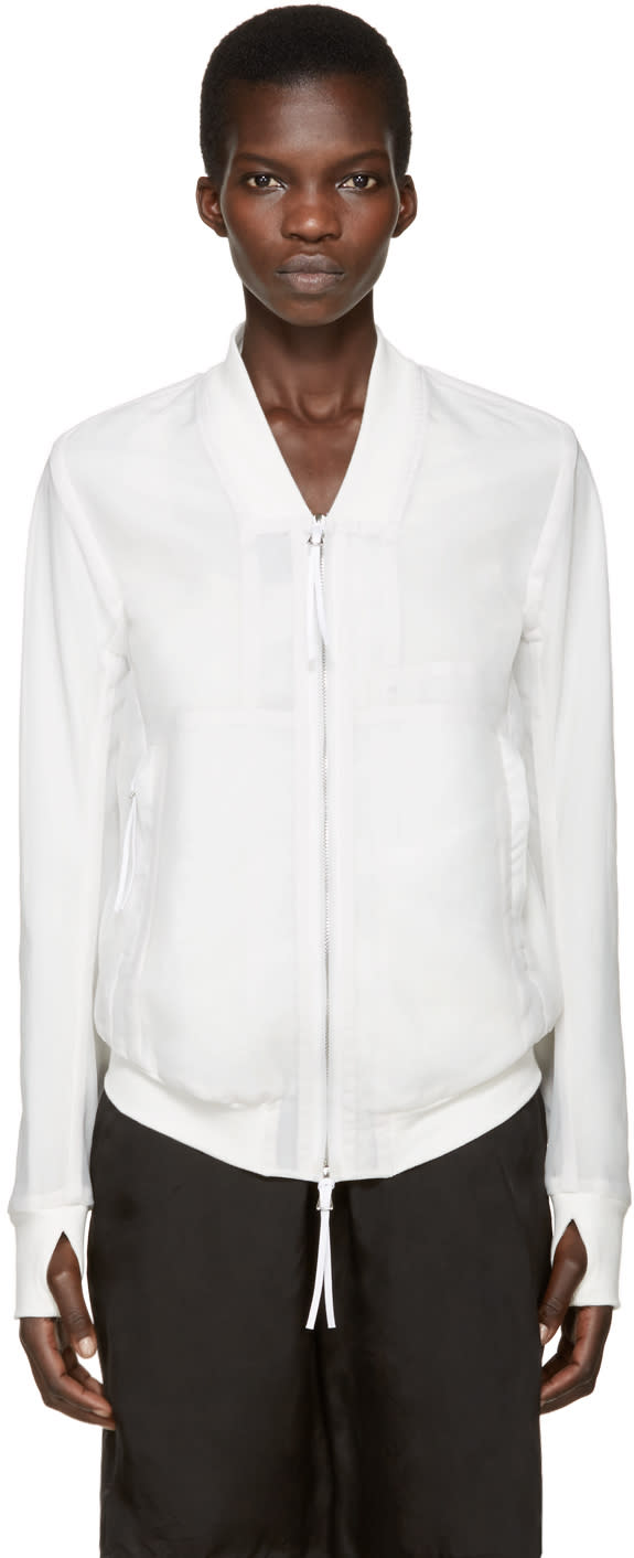 Boris Bidjan Saberi White Layered Bomber Jacket