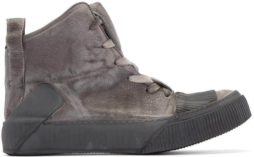 Boris Bidjan Saberi Grey Leather Bamba 1 High-top Sneakers