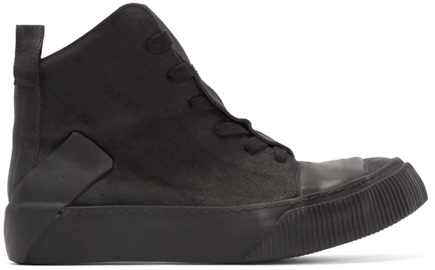 Image of Boris Bidjan Saberi Black Leather Bamba 1 High-top Sneakers