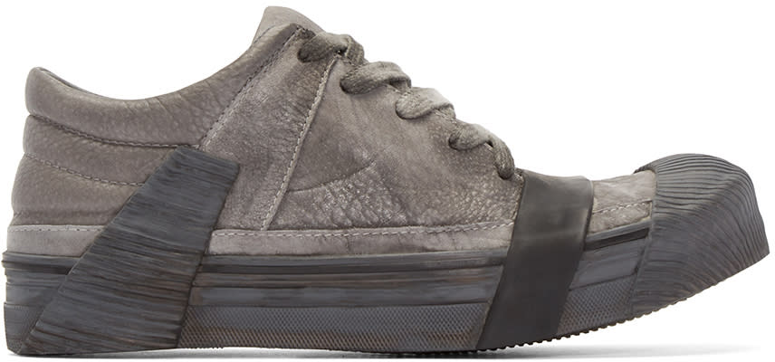 Boris Bidjan Saberi Grey Leather Bamba 3 Sneakers