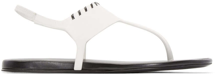 Carritz White Leather Salome Sandals