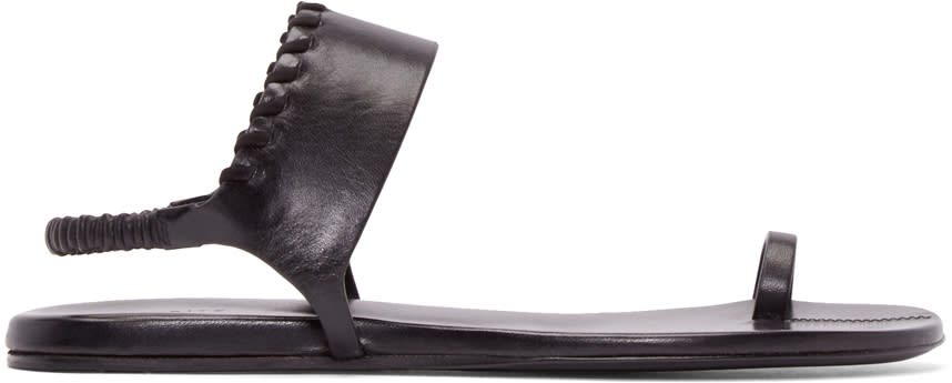 Carritz Black Leather Bracelet Sandals