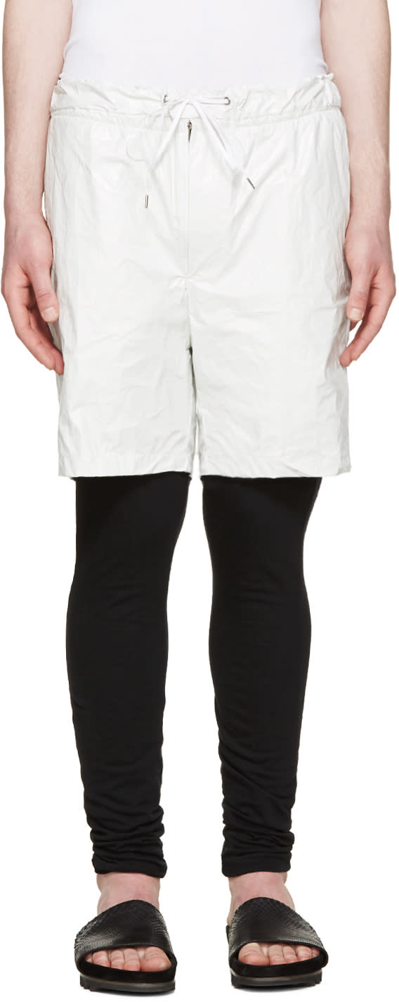Diet Butcher Slim Skin White Tyvek Layered Shorts