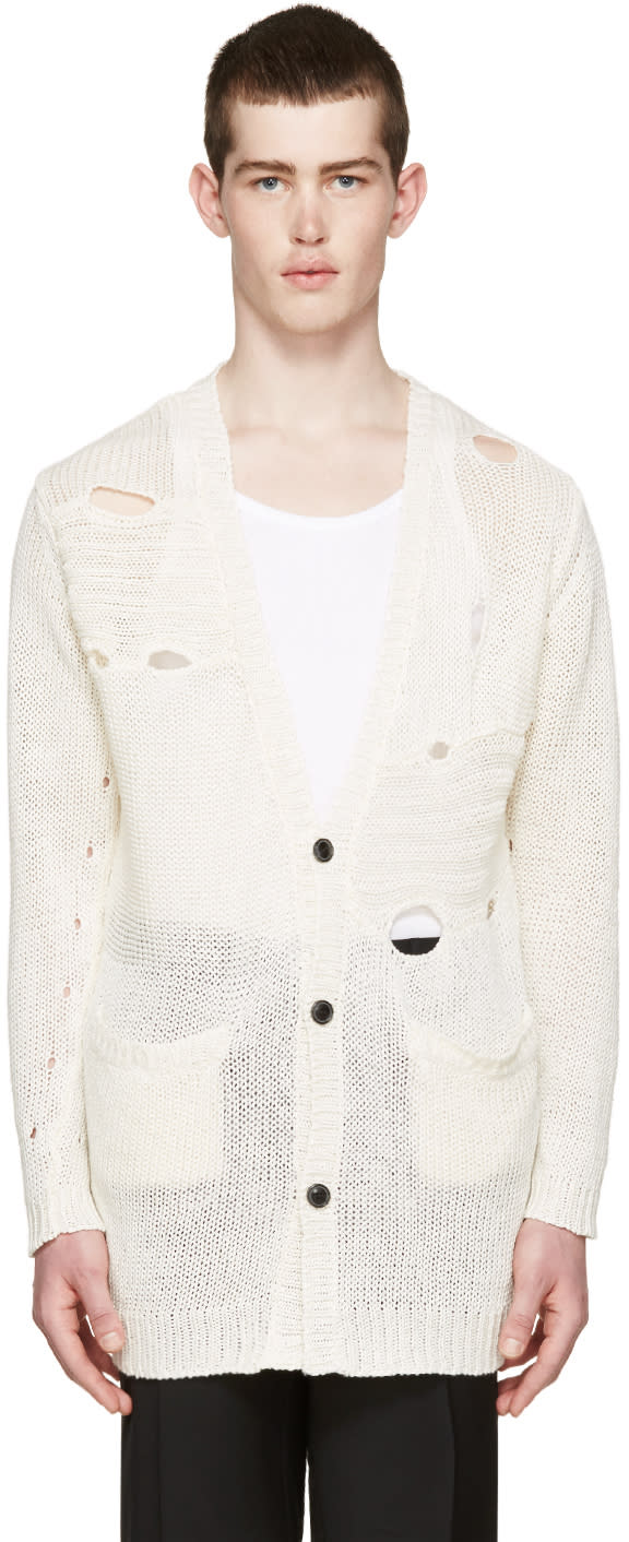 Diet Butcher Slim Skin Cream Knit Damaged Cardigan