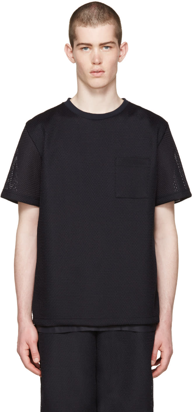 Undecorated Man Navy Mesh Bubble T-shirt