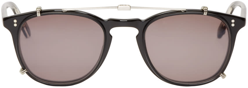 Garrett Leight Black Clip-on Kinney Optical Glasses