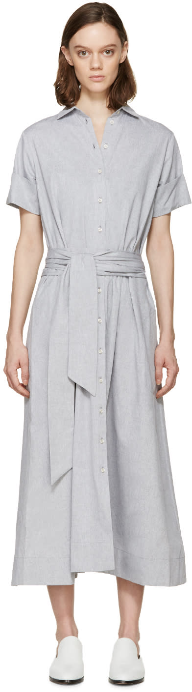 Lisa Marie Fernandez Grey Chambray Shirt Dress