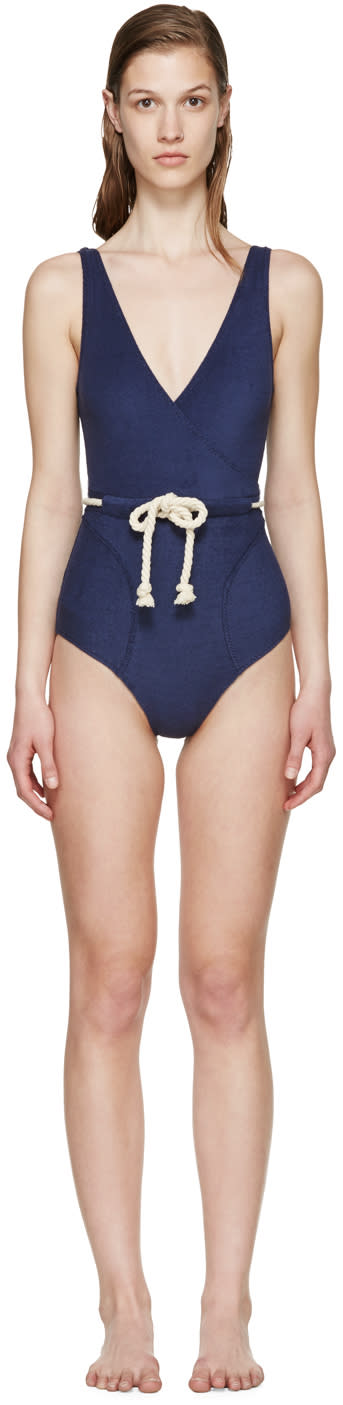 Lisa Marie Fernandez Navy Yasmin Terry Drawstring Swimsuit