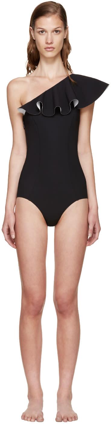 Lisa Marie Fernandez Black Arden Flounce Swimsuit