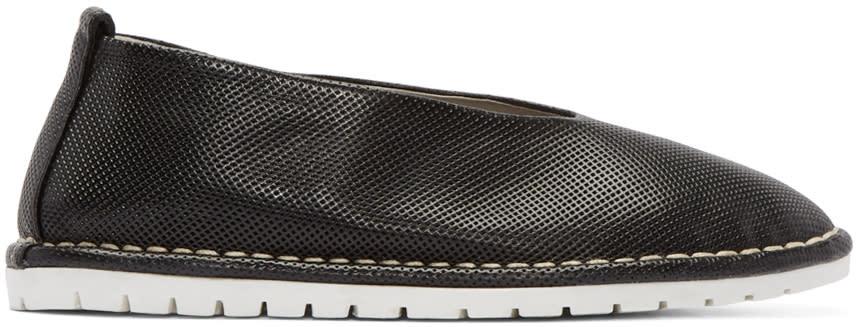 Marsell Gomma Black Perforated Leather Sanlaccio Flats