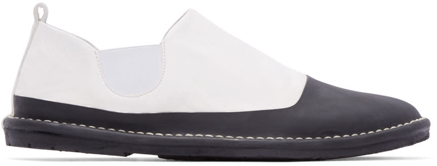 Marsell Gomma Black and White Leather Espadrilles