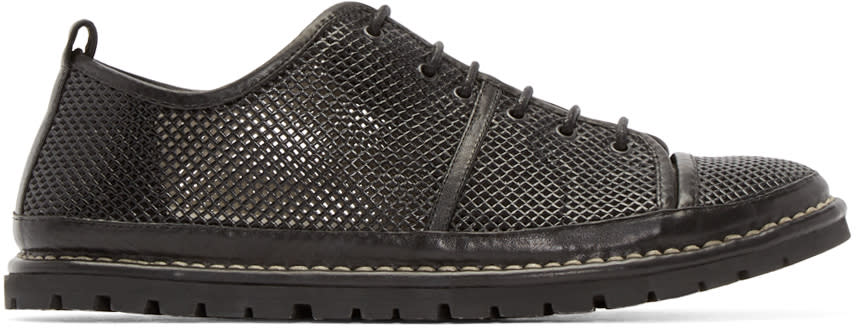 Marsell Gomma Black Leather Woven Sneakers