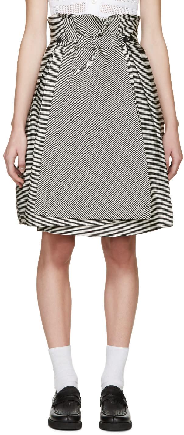Jil Sander Navy Black and White Striped Skirt