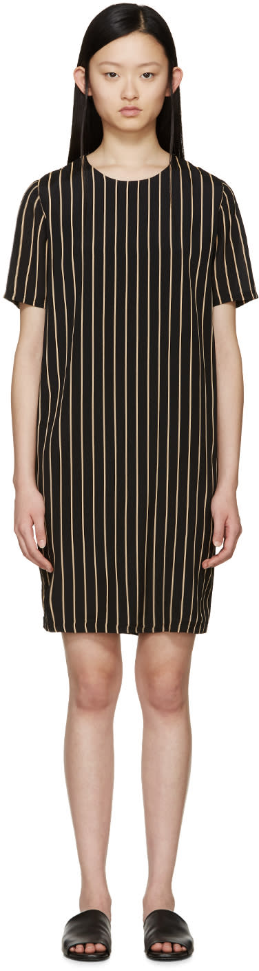 Won Hundred Black and Tan Striped Alicia Dress