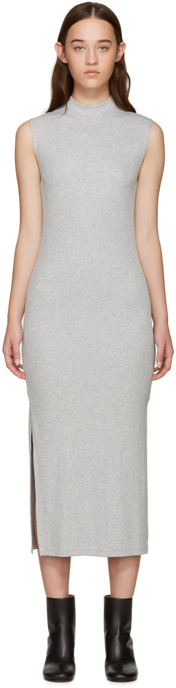 Nomia Grey Ribbed Jersey Dress