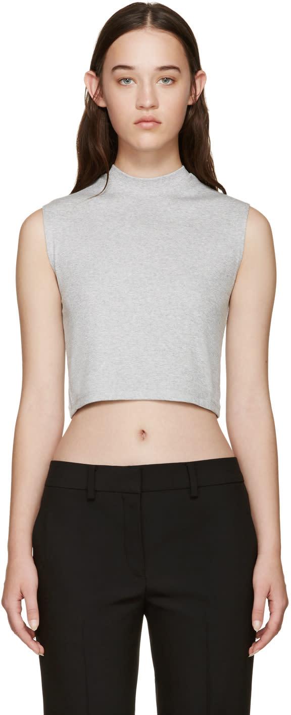 Image of Nomia Grey Ribbed Sleeveless T-shirt