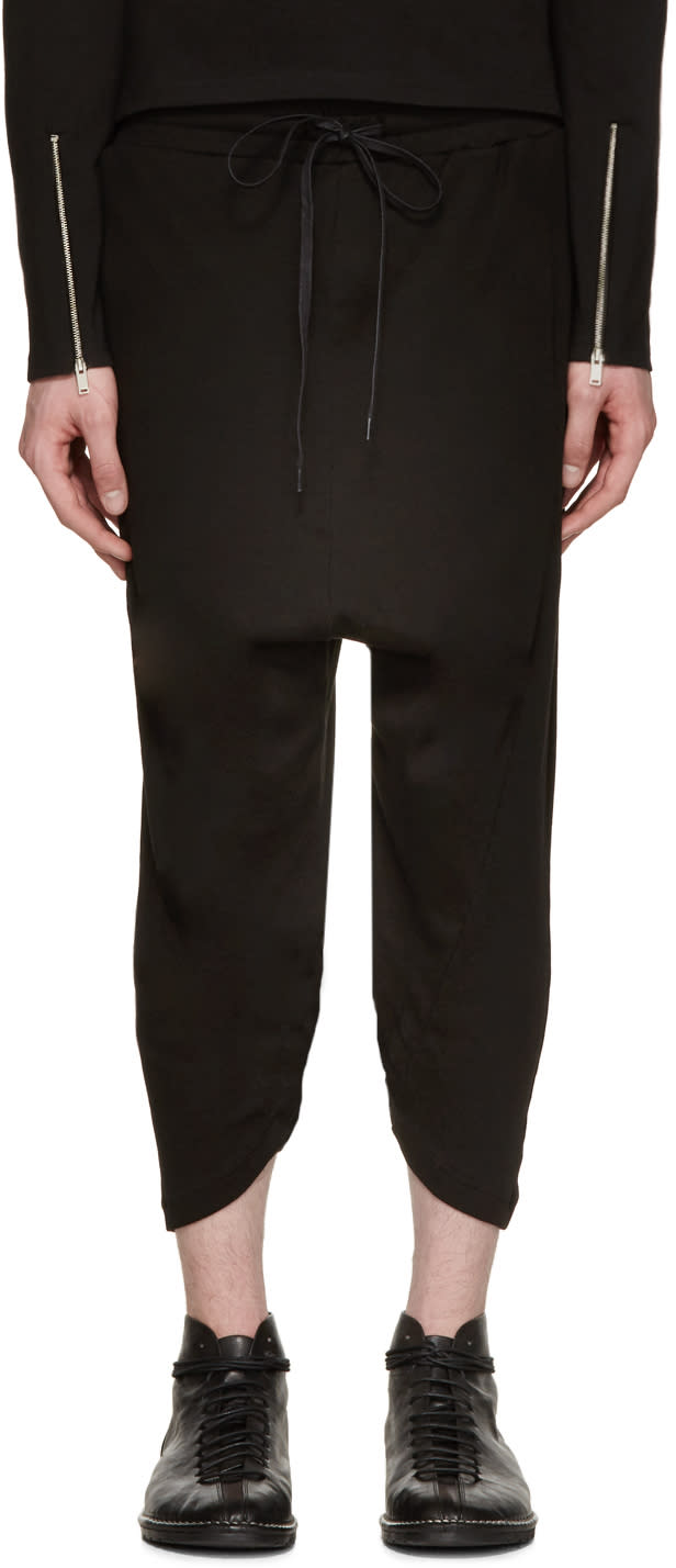D By D Ssense Exclusive Black Diagonal Hem Lounge Pants