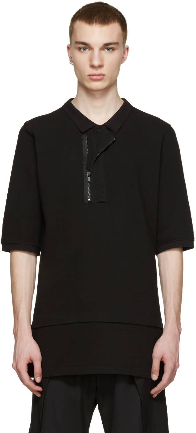 D By D Black Asymmetric Zip Polo
