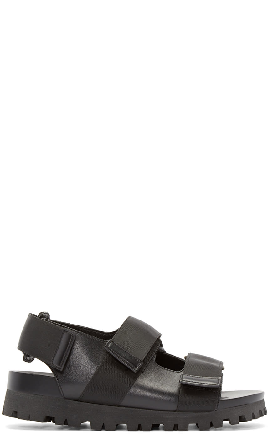D By D Black Grosgrain Strap Sandals