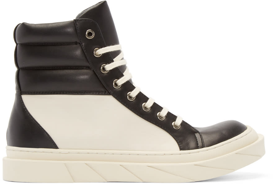 D By D Black and Cream High-top Sneakers