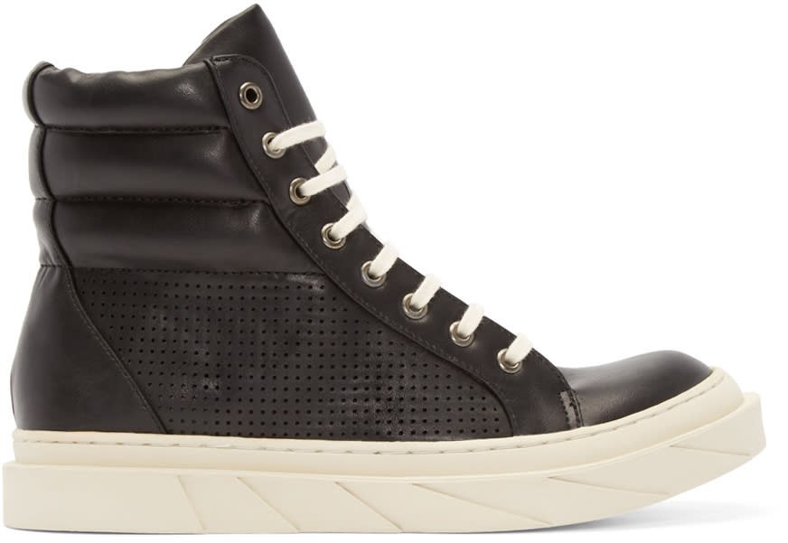 D By D Black Perforated High-top Sneakers