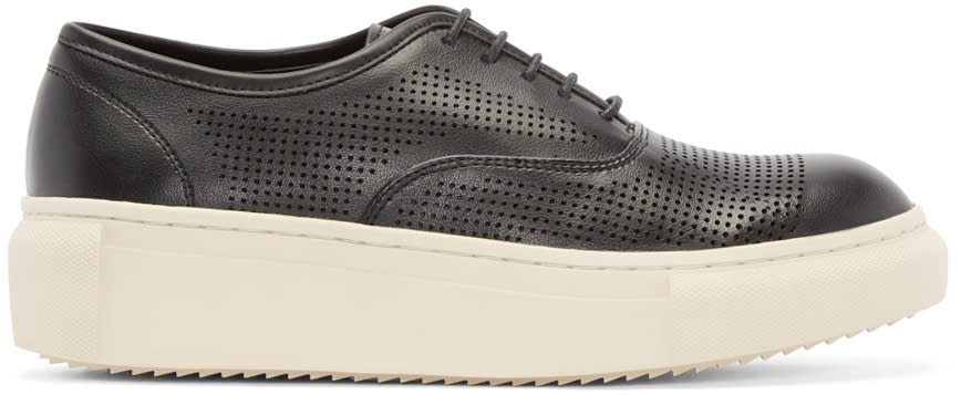 D By D Black Perforated Faux-leather Sneakers