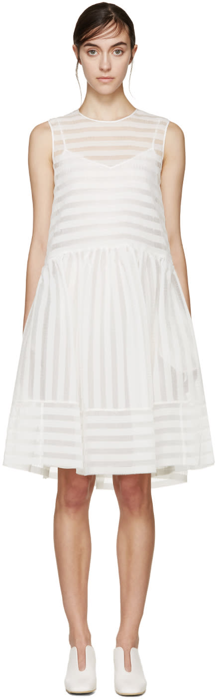 Erdem White Seersucker Maddox Dress