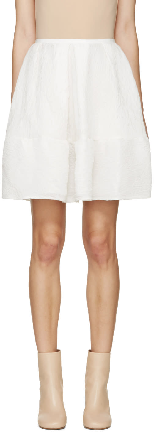 Erdem White Cloque Levia Skirt