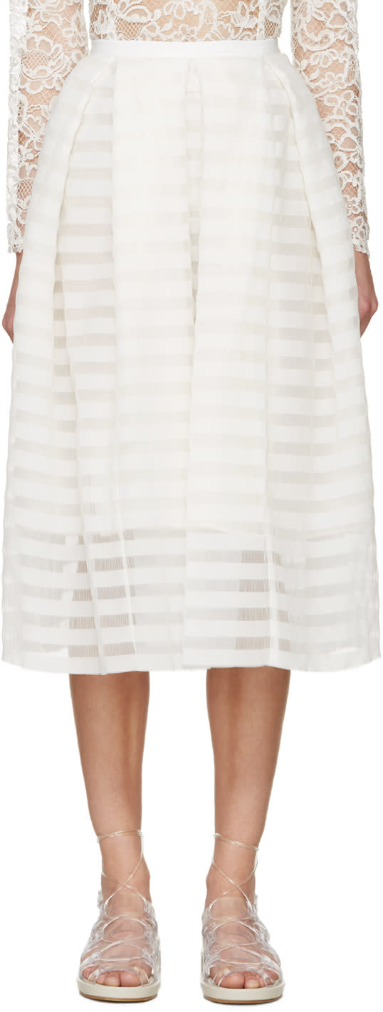 Erdem White Seersucker Ina Skirt