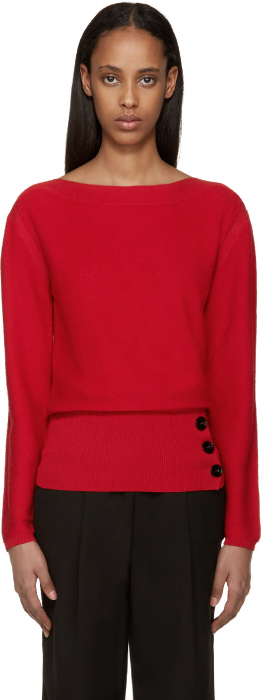 Lemaire Red Crepe Knit Sweater