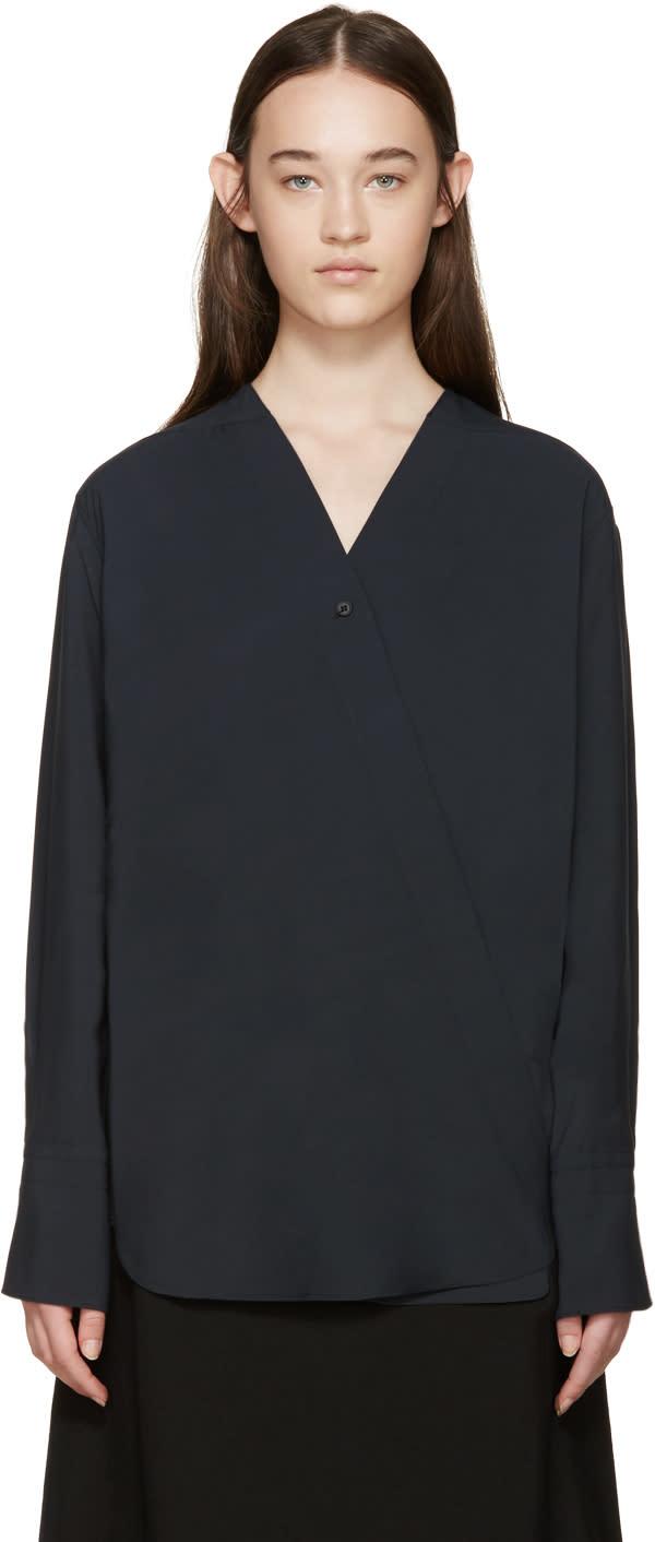 Lemaire Navy Wrap Panama Shirt