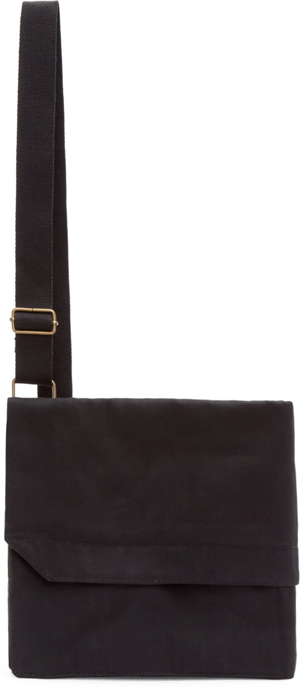 Lemaire Black Denim Ergonomic Messenger Bag