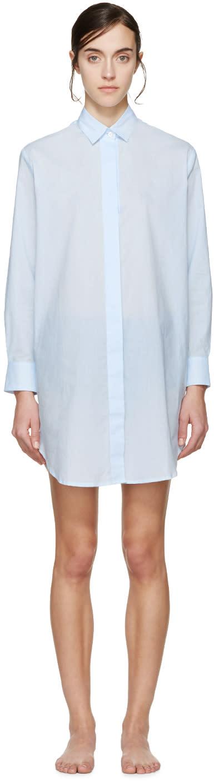 Raphaëlla Riboud Blue Lace-inset Marilyn Pyjama Shirt