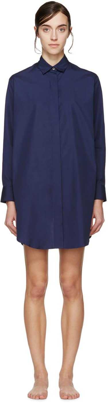 Raphaëlla Riboud Navy Lace-inset Marilyn Pyjama Shirt