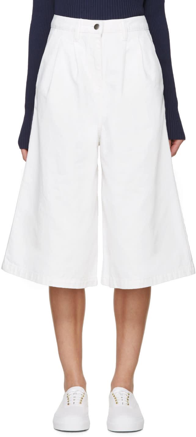Edit White Denim Culottes