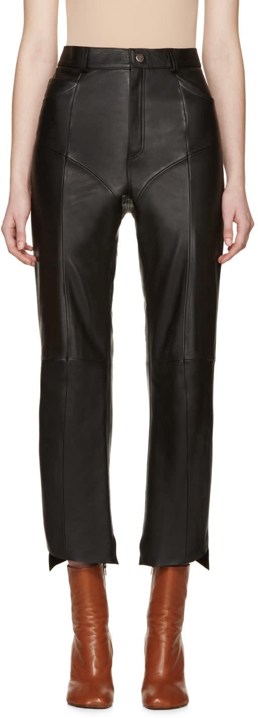 Vetements Black Leather Moto Pants