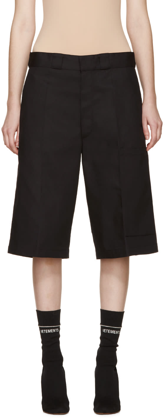 Vetements Black Twill Oversized Shorts