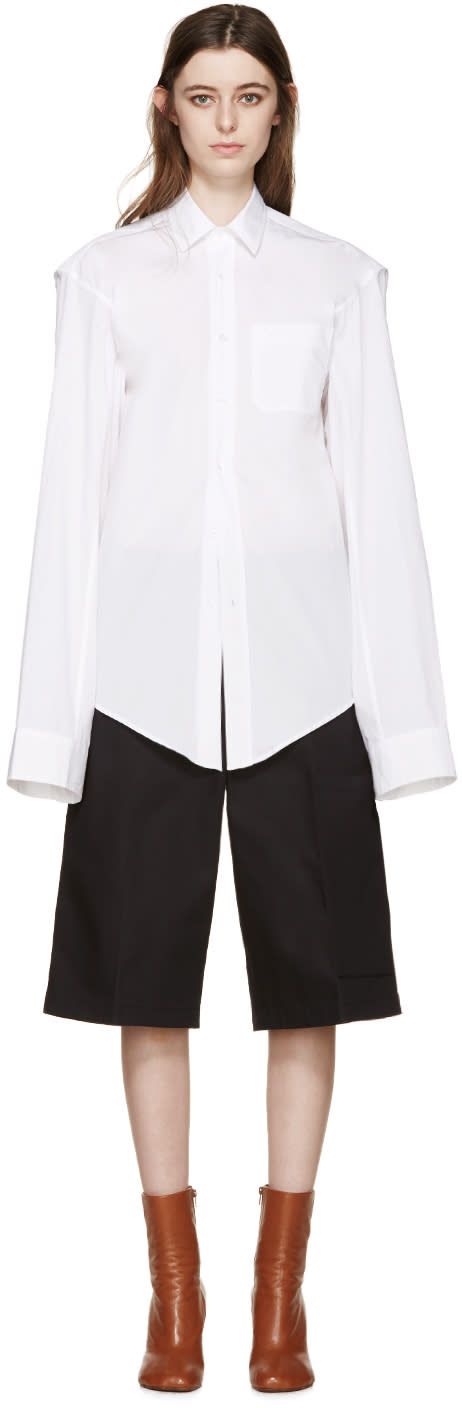 Vetements White Oversized v Shirt
