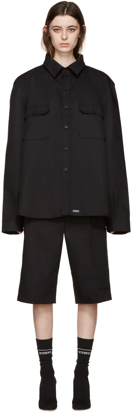 Vetements Black Twill Double Shirt