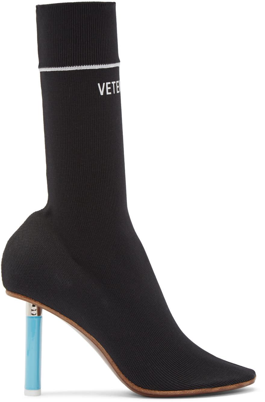 Vetements Black Logo Ankle Sock Boots
