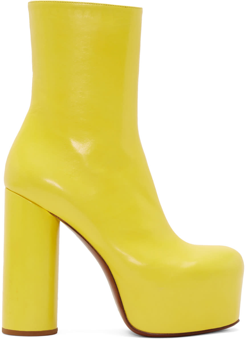 Vetements Yellow Leather Chunky Boots