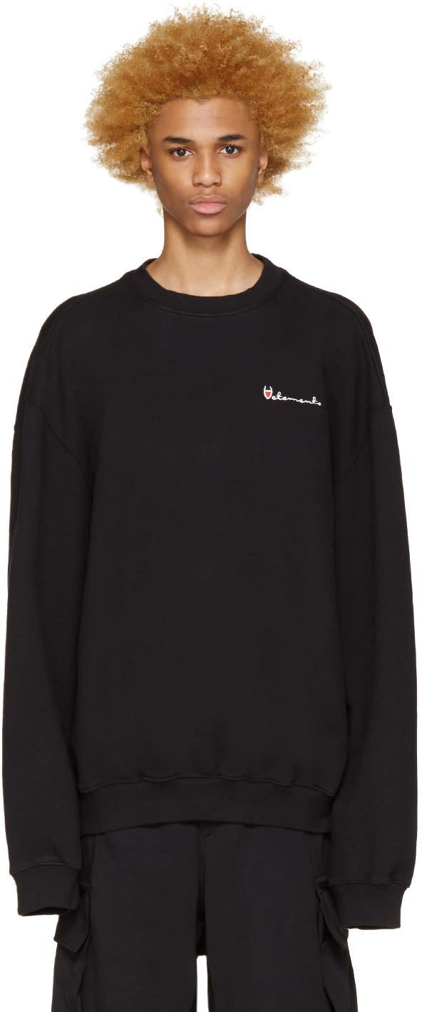 Vetements Black Oversized Logo Pullover