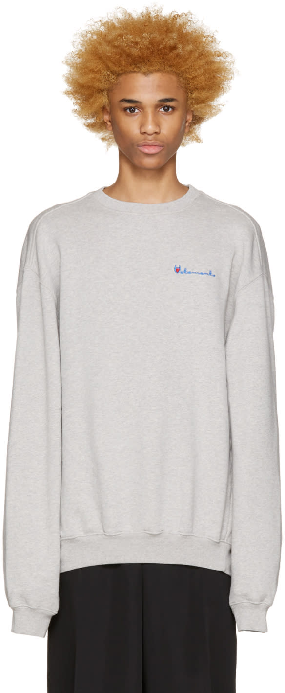 Vetements Grey Logo Pullover