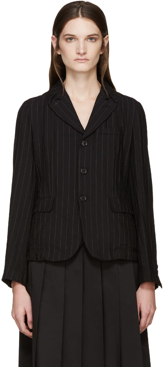 Comme Des Garçons Comme Des Garçons Black Pinstripe Wool Blazer