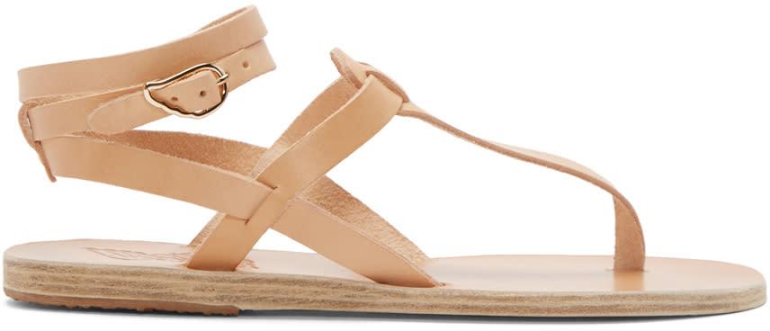 Ancient Greek Sandals Beige Leather Estia Sandals